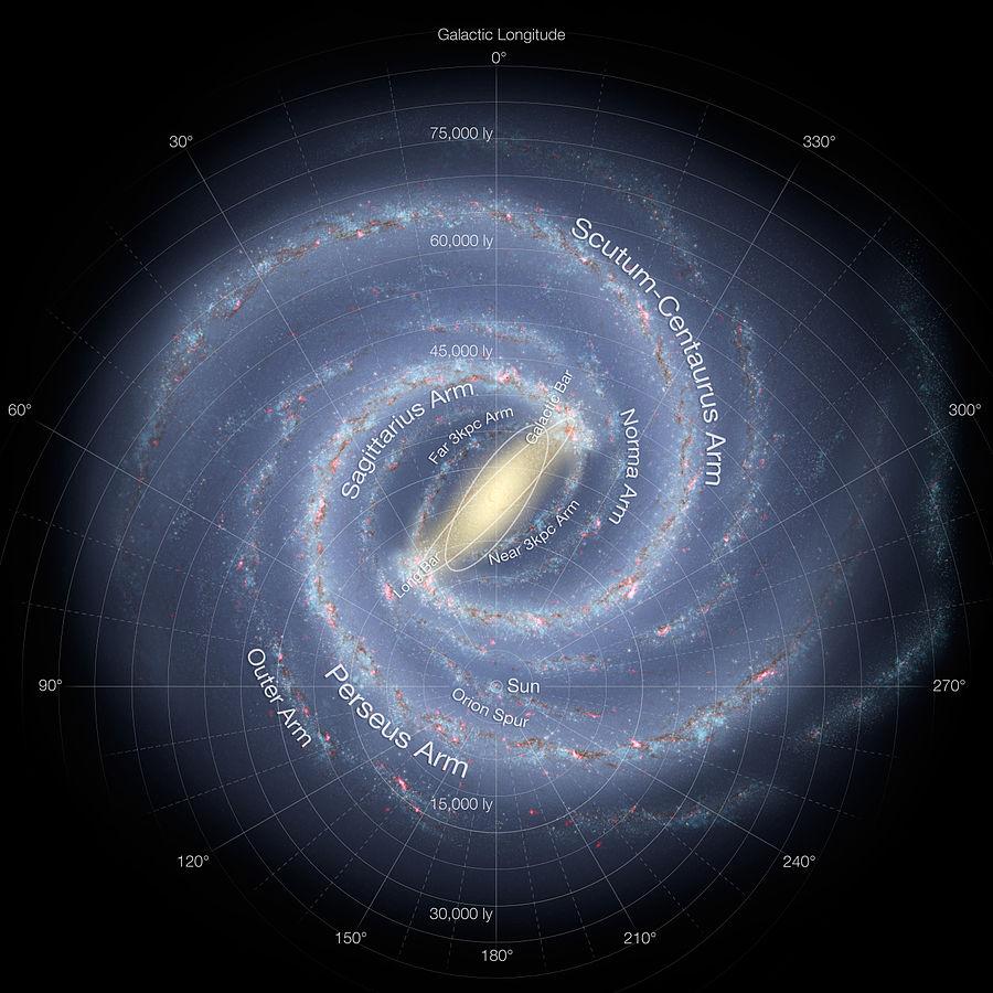 Impressão artística da estrutura da galáxia, baseada nos mais recentes avanços no mapeamento galáctico - Foto: Nasa/JPL-Caltech/ESO/R