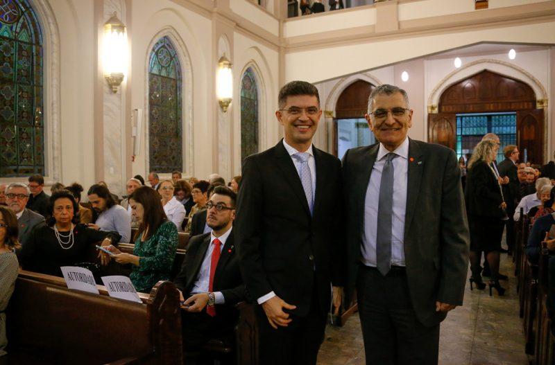 O reitor da USP Vahan Agopyan e o pastor da Igreja presbiteriana Valdinei Ferreira - Foto: Cecília Bastos/USP Imagem