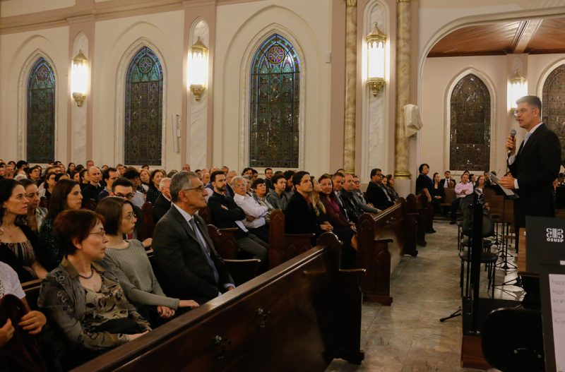 Valdinei Ferreira (pastor igreja Presbiteriana)  durante o Concerto de Inauguração do órgão - Foto: Cecília Bastos/USP Imagens