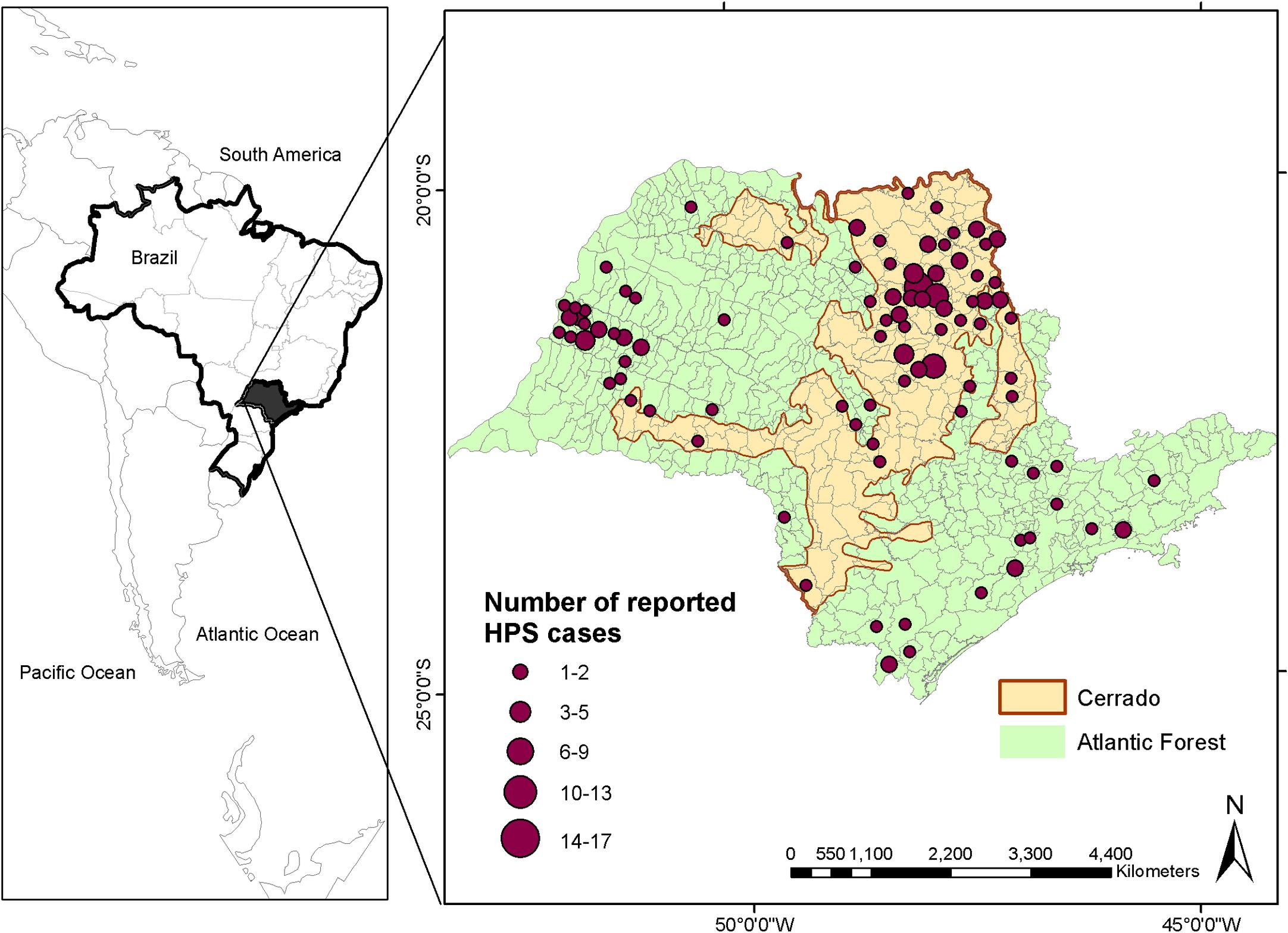 Incidência de hantavírus entre 1993 e 2012 nos 645 municípios do estado de São Paulo, e delimitação do cerrado (em laranja) e da Mata Atlântica (em verde) no estado.